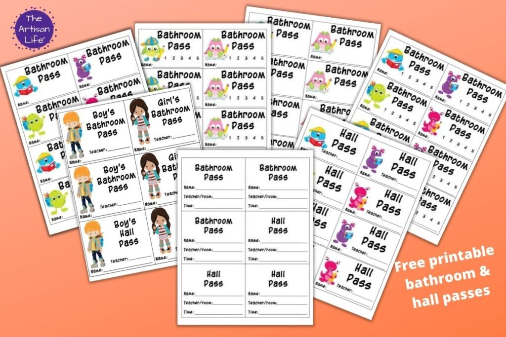 7 printable hall pass and bathroom pass previews on a peach colored background. There is a plain bathroom pass for high school and cute bathroom and hall passes for elementary school and kindergarten