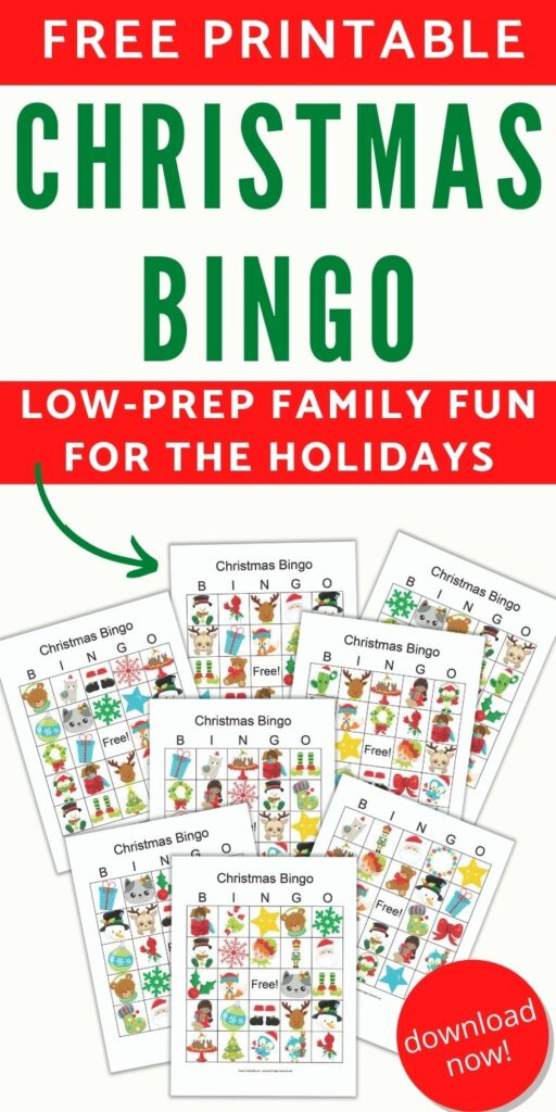 """Text """"Free printable christmas bingo - low-prep fun for families. Download now!"""" with a preview of 8 printable bingo cards featuring cartoon secular Christmas images"""