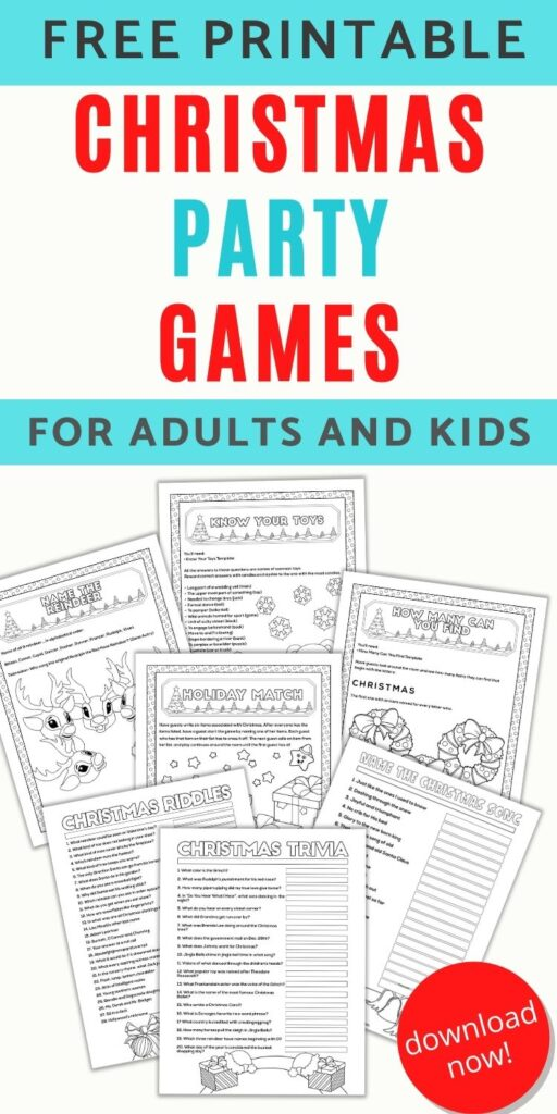 """text """"free printable Christmas party games for adults & kids"""" with a preview of 7 free printable Christmas party games including Christmas trivia, Christmas riddles, name that Christmas song, and name that toy"""