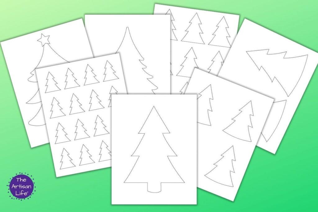 """7 printable Christmas tree templates on a green gradient background. Templates include full sized, large Christmas tree outlines that fill the whole page, medium templates two to a page, 4 Christmas tree patterns on one page, and even small 2"""" high Christmas tree patterns with 16 trees on one page"""