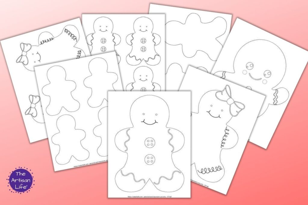 7 printable gingerbread man and gingerbread girl templates on a red background. Patterns include large ginger boys and girls and blank gingerbread man templates that are two to a page and four to a page.