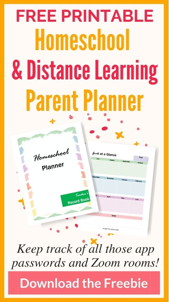 """text """"free printable homeschool and distance learning parent planner - keep track of all those app passwords and zoom rooms! Download the freebie"""" In the center is a preview of two printable planner pages that say """"homeschool planner"""" and """"Goals at a glance"""""""