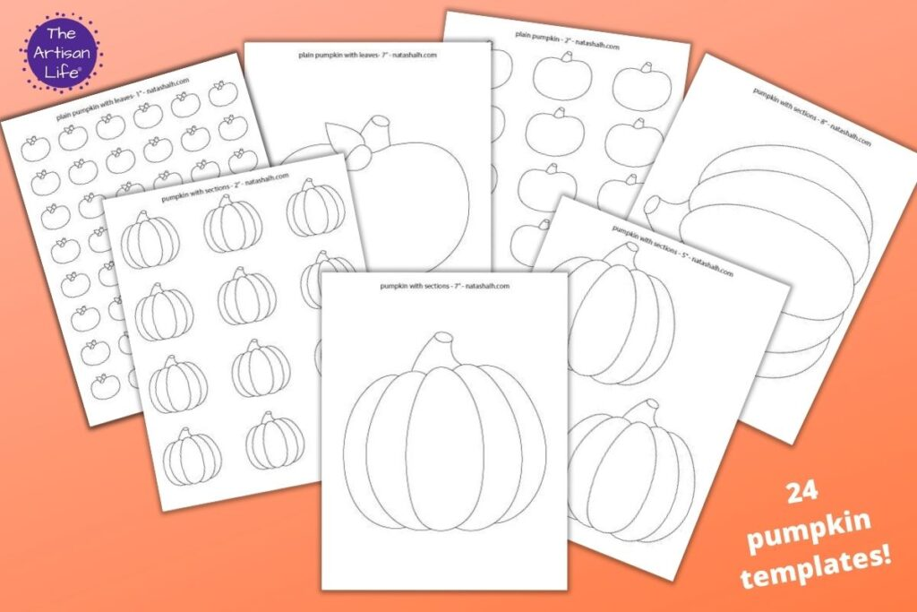 """7 printable pumpkin templates on an orange background with the text """"24 pumpkin templates!"""" There are simple segmented pumpkins, large pumpkin templates, and plain pumpkin outlines to color."""
