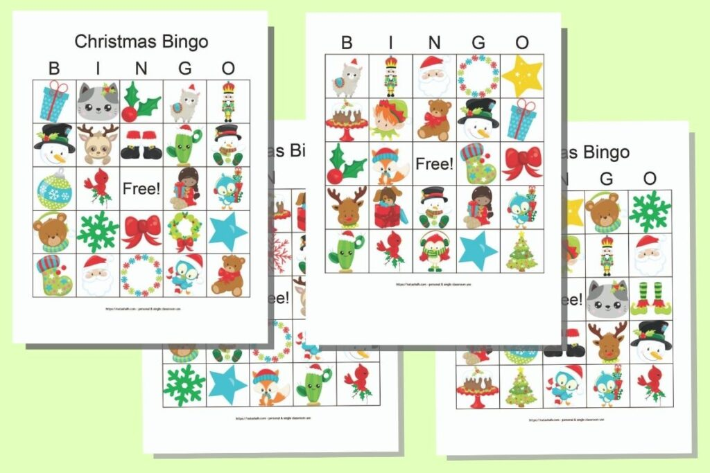 Four free printable Christmas bingo boards featuring cartoon secular Christmas images on a green background