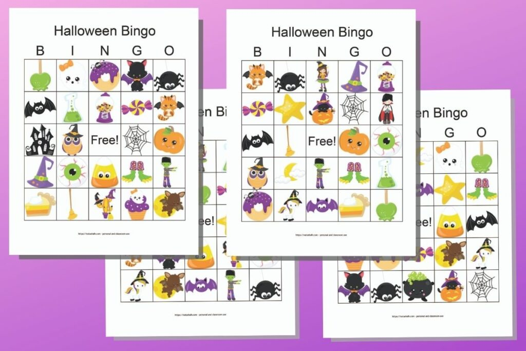 four free printable Halloween picture bingo boards featuring cute cartoon images on a purple background.