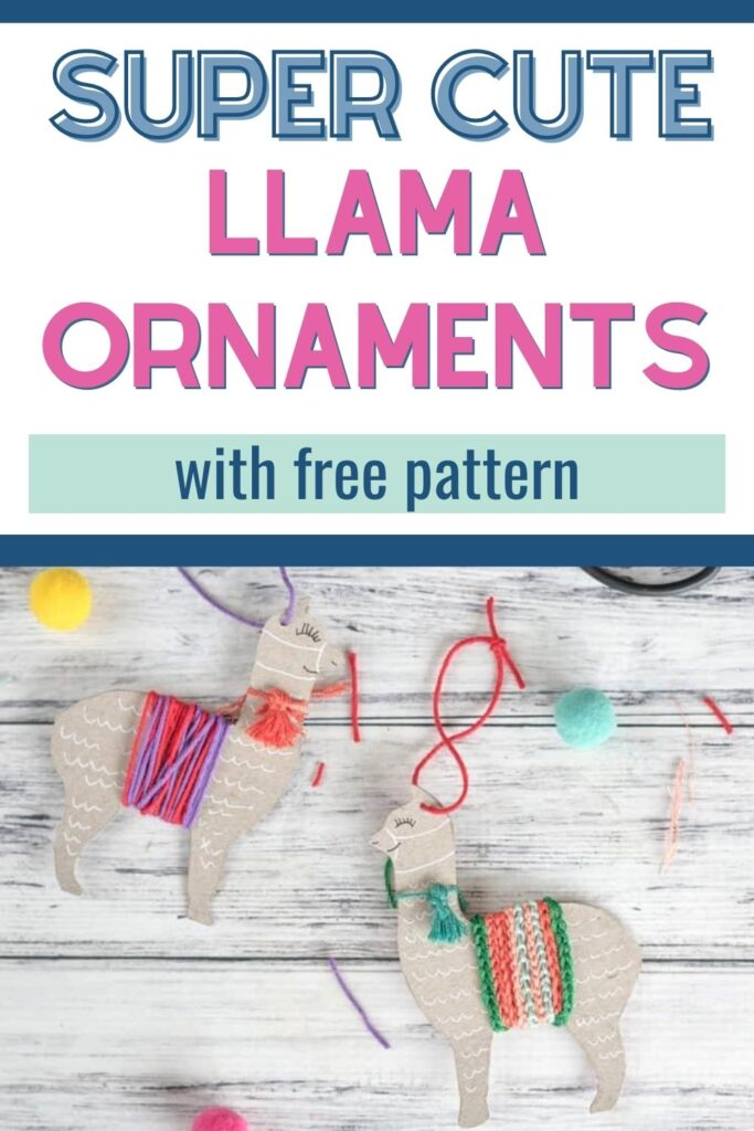 """text """"super cute llama ornaments with free pattern."""" Below the text are two cute llama ornaments made with leftover cardboard and yarn. They are on a white background surrounded by pompoms"""