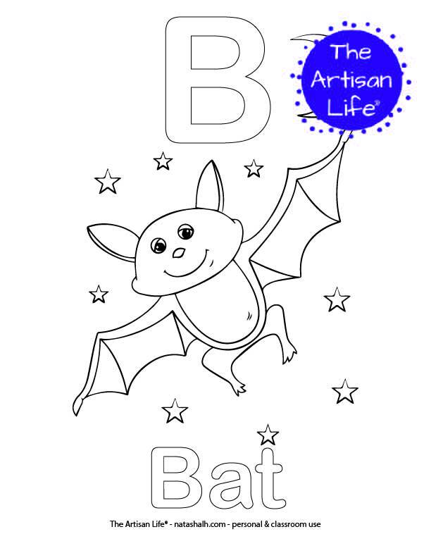 Coloring page with B and Bat in bubble letters and a picture of a bat to color