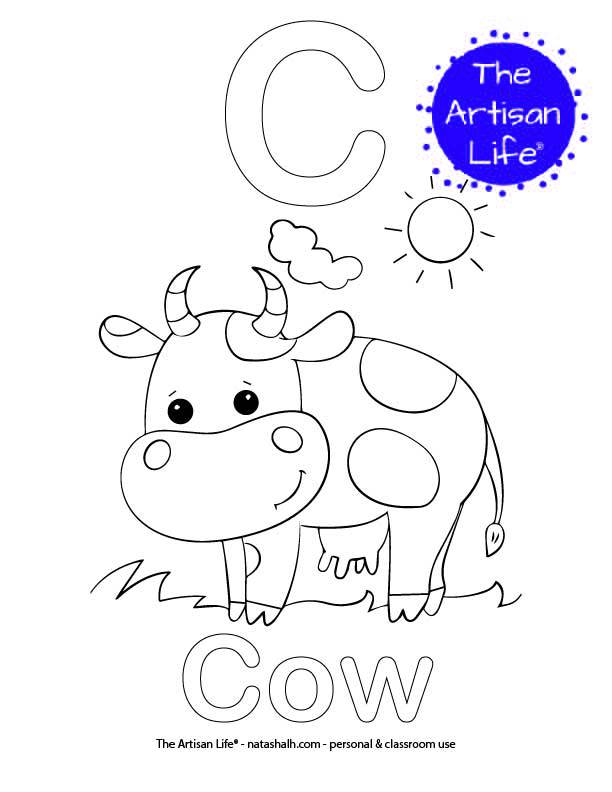 Coloring page with C and Cow in bubble letters and a picture of a cow to color