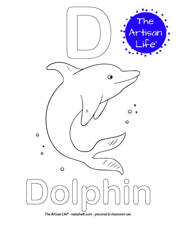 Coloring page with D and Dolphin in bubble letters and a picture of a dolphin to color