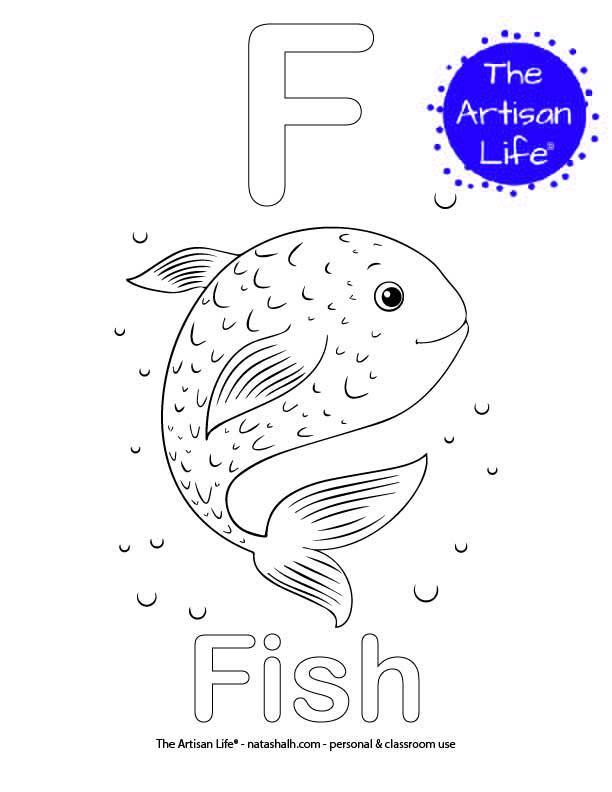 Coloring page with F and Fish in bubble letters and a picture of a fish to color