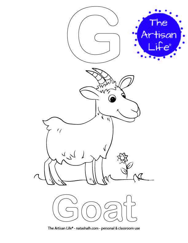 Coloring page with G and goat in bubble letters and a picture of a goat to color