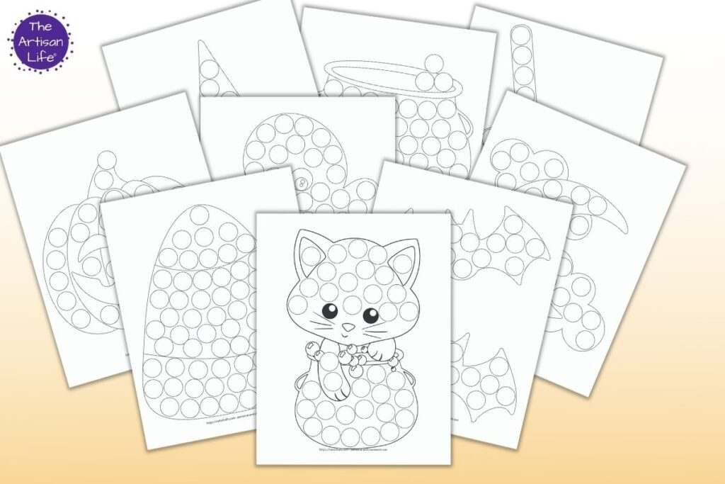 9 printable Halloween dab a dot printables for toddlers and preschoolers on a light orange background. Images include A candy apple Candycorn A jack o'lantern A cute ghost A witch hat Two bats A moon with clouds A cute Halloween cat A cauldron