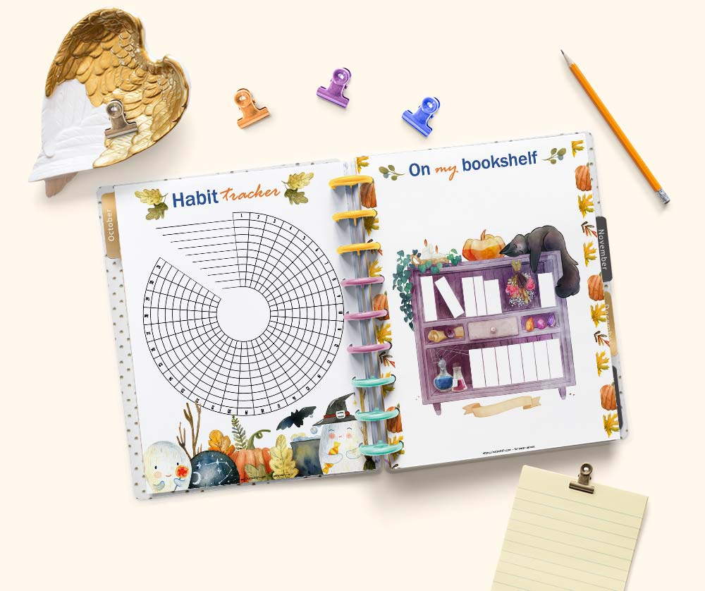 """an open Happy Planner Classic with printable October pages with Halloween watercolor illustrations. On the left is a habit tracker and on the right is a bookshop labeled """"on my bookshelf"""""""