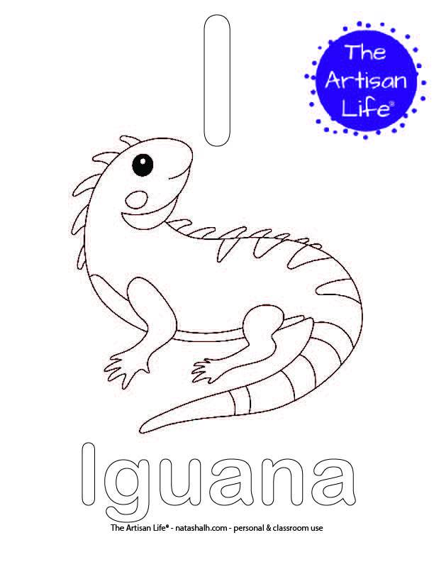 Coloring page with I and iguana in bubble letters and a picture of an iguana to color