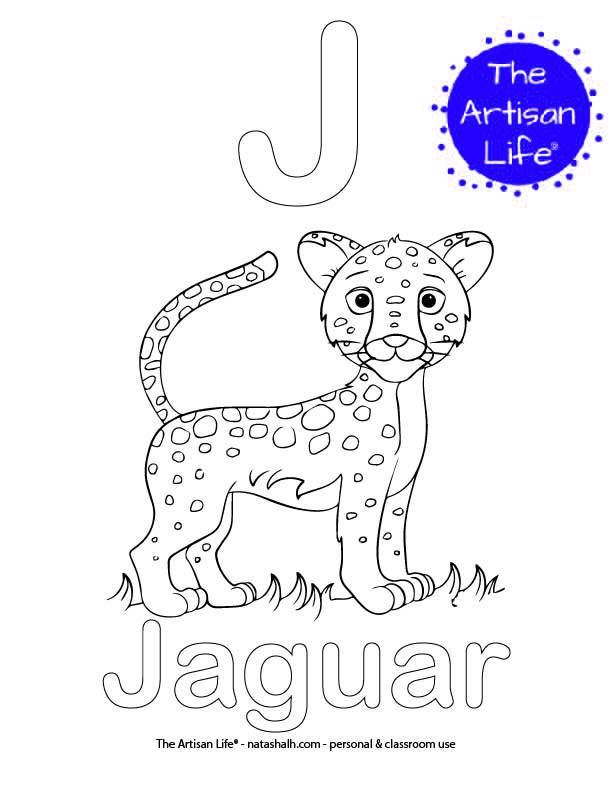 Coloring page with J and Jaguar in bubble letters and a picture of a jaguar cat to color