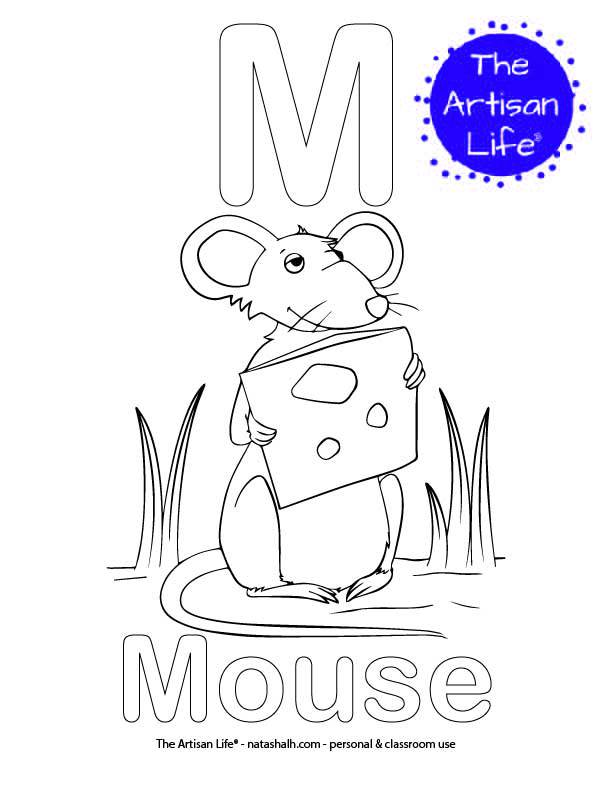 Coloring page with M and Mouse in bubble letters and a picture of a mouse to color