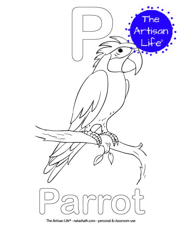 Coloring page with P and Parrot in bubble letters and a picture of a parrot to color
