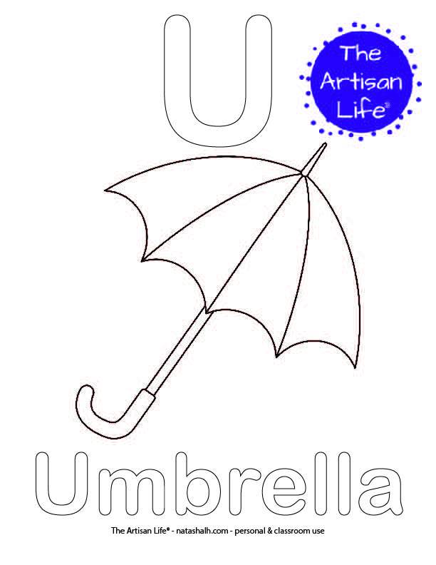 Coloring page with U and Umbrella in bubble letters and a picture of an umbrella to color