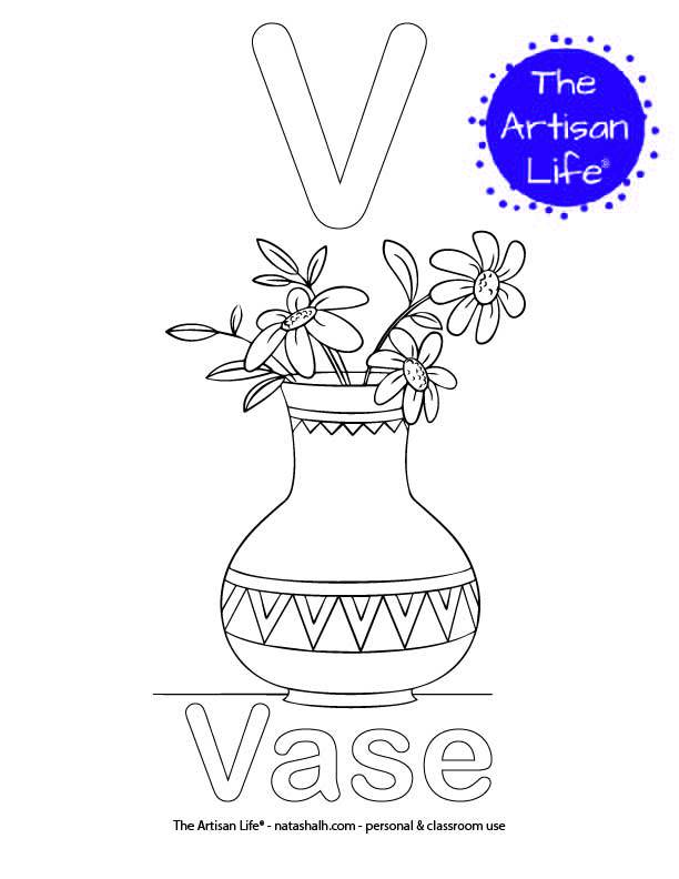 Coloring page with V and Vase in bubble letters and a picture of a vase to color
