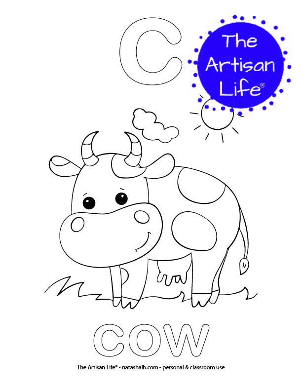 Coloring page with bubble letter c and cow in bubble letters and a picture of a cow to color