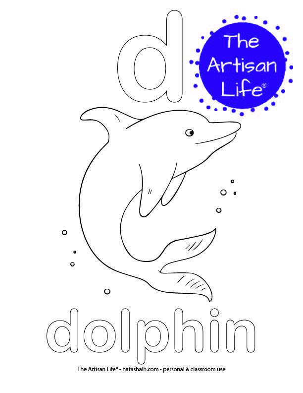 Coloring page with bubble letter d and dolphin in bubble letters and a picture of a dolphin to color