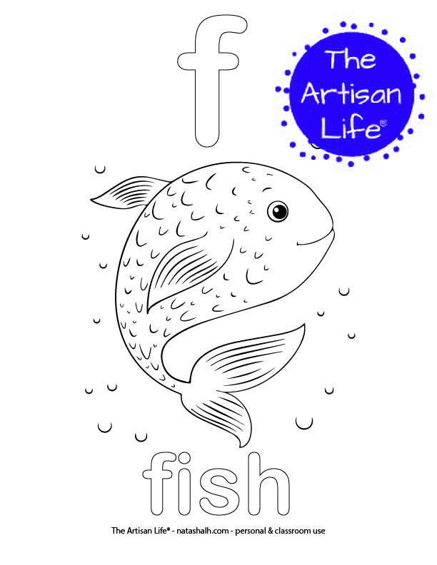 Coloring page with bubble letter f and fish in bubble letters and a picture of a fish to color