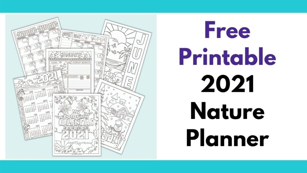 """on the left is a light teal box with 7 preview images from a 2021 calendar featuring nature images to color. The front cover page with birds and flowers is front and center with pages for January and June visible in the background. On the right is the text """"free printable 2021 nature planner"""""""