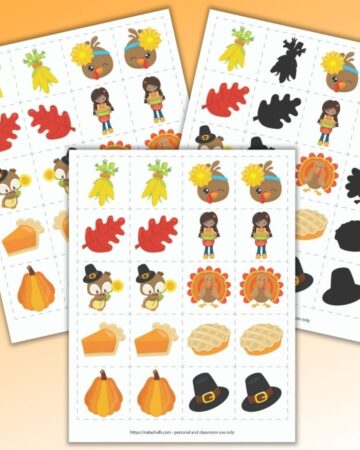 three printable Thanksgiving matching games on an orange background. All three versions feature 10 cute cartoon Thanksgiving images. The front and center game is a classic matching game with exact match images. Behind and to the left is a mirror image matching game. Behind and to the right is a shadow matching game.