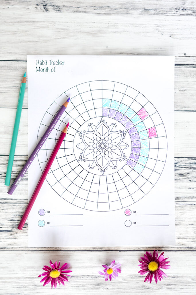 A printable circular habit tracker with a floral mandala in the center. The habit tracker is 1/4 filled in with purple, turquoise, and pink. The colored pencils used are shown next to the habit tracker and there are three purple daisies below the printable
