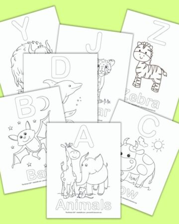 a preview of 7 printable alphabet coloring pages for preschoolers on a green background. Each page features an uppercase letter and a corresponding picture and word to color. For example, the front and center image has A - Animals with a picture of an elephant and a giraffe to color