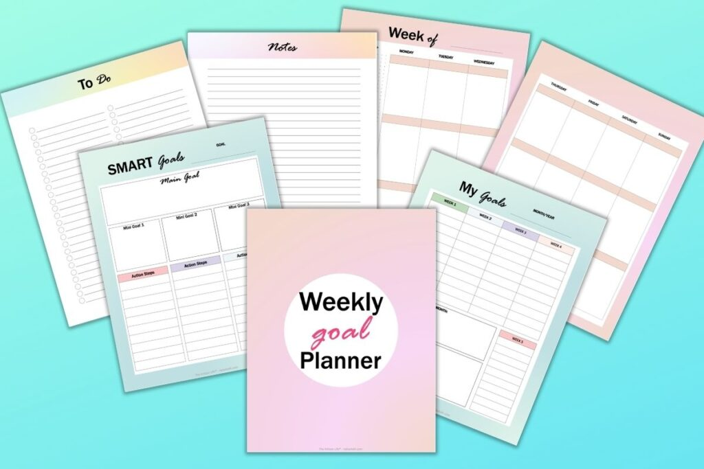 a preview of 7 colorful weekly goals planner printable pages on a blue background