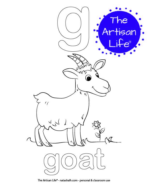 Coloring page with bubble letter g and goat in bubble letters and a picture of a goat to color