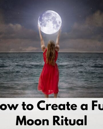 "text overlay ""how to create a full moon ritual"" over a picture of a woman in a red dress at the beach. She seems to be holding a full moon in her hands."