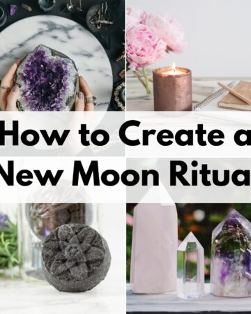 "text overlay ""how to create a new moon ritual"" over a 2x2 image grid showing a woman holding a large amethyst crystal, a candle with a journal, an activated charcoal bath bomb, and three crystal points"