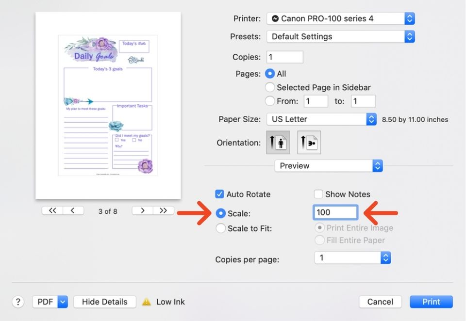 a print dialogue box in Preview showing printing at actual size for an A5 sized printable on US letter paper