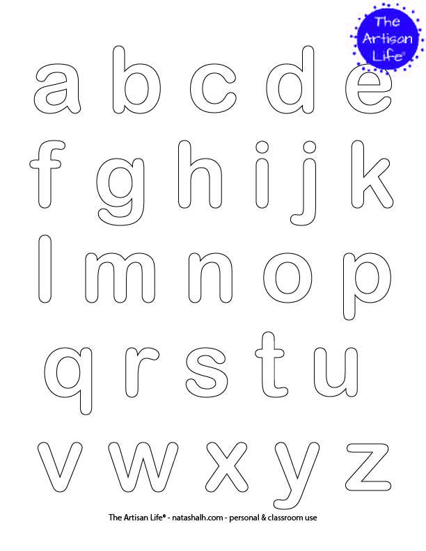 lowercase alphabet abcs coloring poster with the entire alphabet in bubble letters to color