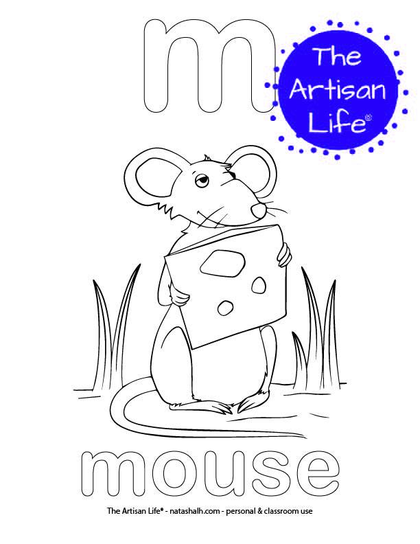 Coloring page with bubble letter m and mouse in bubble letters and a picture of a mouse to color