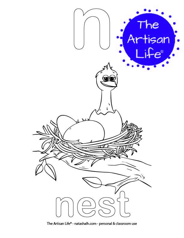 Coloring page with a lowercase bubble letter n and nest in bubble letters and a picture of a nest to color