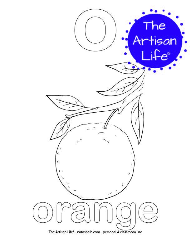 Coloring page with a lowercase bubble letter o and orange in bubble letters and a picture of an orange to color