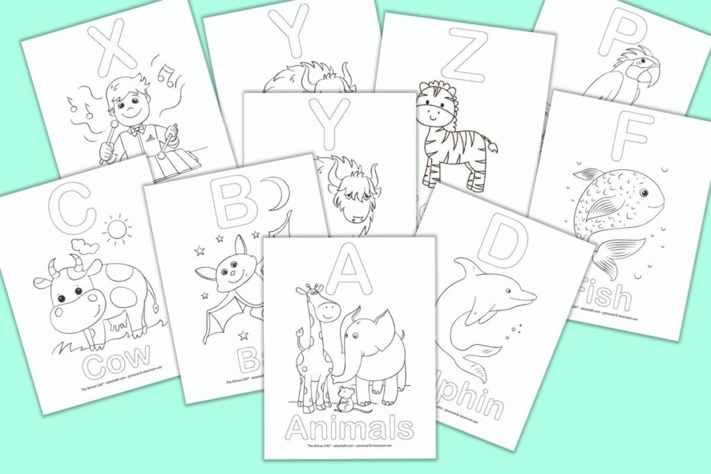 A preview of alphabet coloring pages for children on a light teal colored background. Each page has a bubble letter and a corresponding picture to color (for example B - Bat with a picture of a bat)