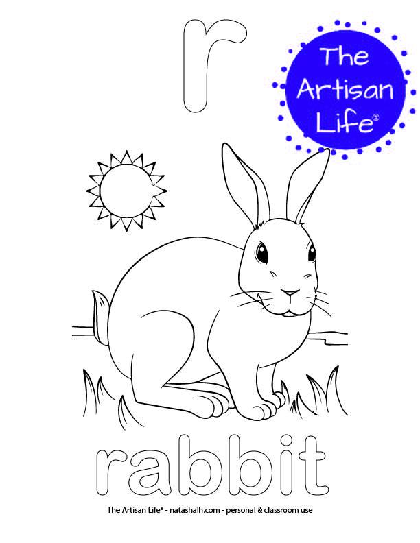 Coloring page with a lowercase bubble letter r and rabbit in bubble letters and a picture of a rabbit to color