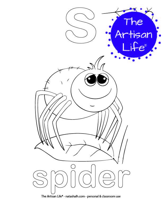 Coloring page with a lowercase bubble letter s and spider in bubble letters and a picture of a spider to color