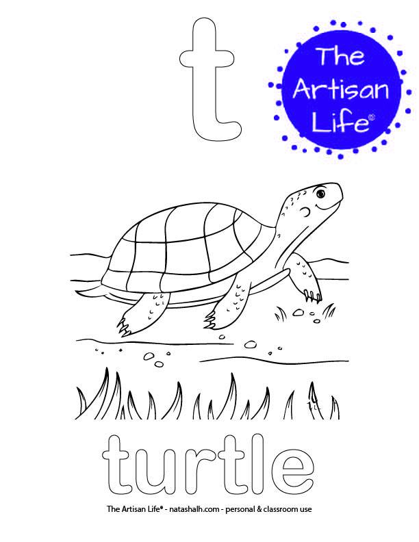 Coloring page with a lowercase bubble letter t and turtle in bubble letters and a picture of a turtle to color
