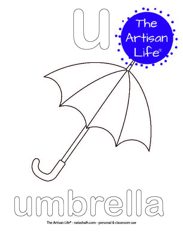 Coloring page with a lowercase bubble letter u and umbrella in bubble letters and a picture of an umbrella to color