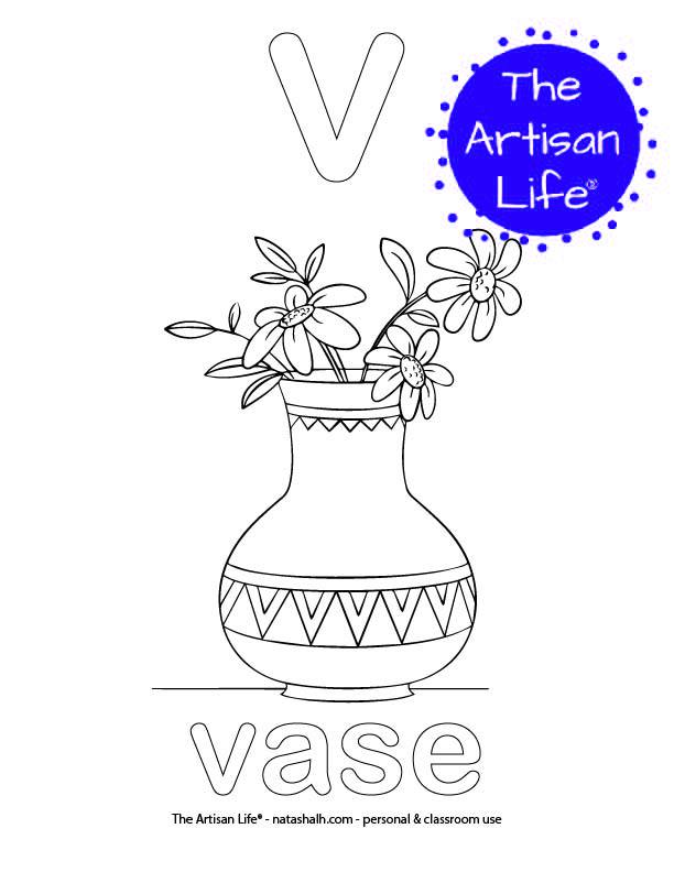 Coloring page with a lowercase bubble letter v and vase in bubble letters and a picture of a vase to color