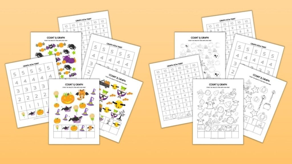 10 printable count and graph Halloween worksheets for preschool on an orange background. Half are in color and half are in black and white.