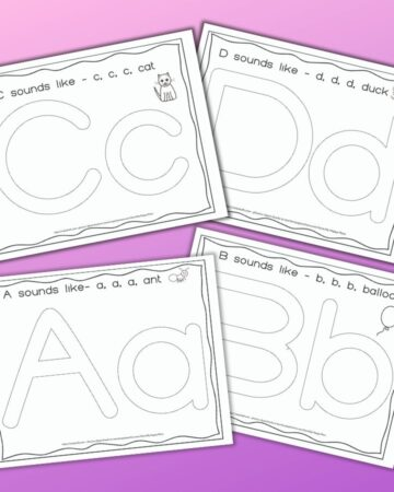 four printable alphabet play dough mats with letters a, b, c, and d. Each mat features the letter in uppercase and lowercase plus a picture representing the phonetic sound (ant, balloon, cat, and duck)