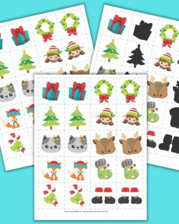 """A preview of three Christmas themed matching games for toddlers and preschoolers. The front and center image has a grid of 8 pairs of images on 2"""" cards to cut out. Images include a present, a Christmas tree, a cat face, a fox wearing a hat, a candy cane with a green bow, a wreath, a girl elf face, a Rudolph face, a green Christmas stocking, and Santa boots. The other cards show the same images, but one set features mirror image pairs and the other set is a shadow matching game."""