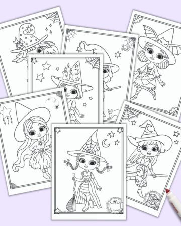 A preview of seven free printable cute Halloween witch coloring pages. Each page has a large cute witch girl to color and a doodle frame.