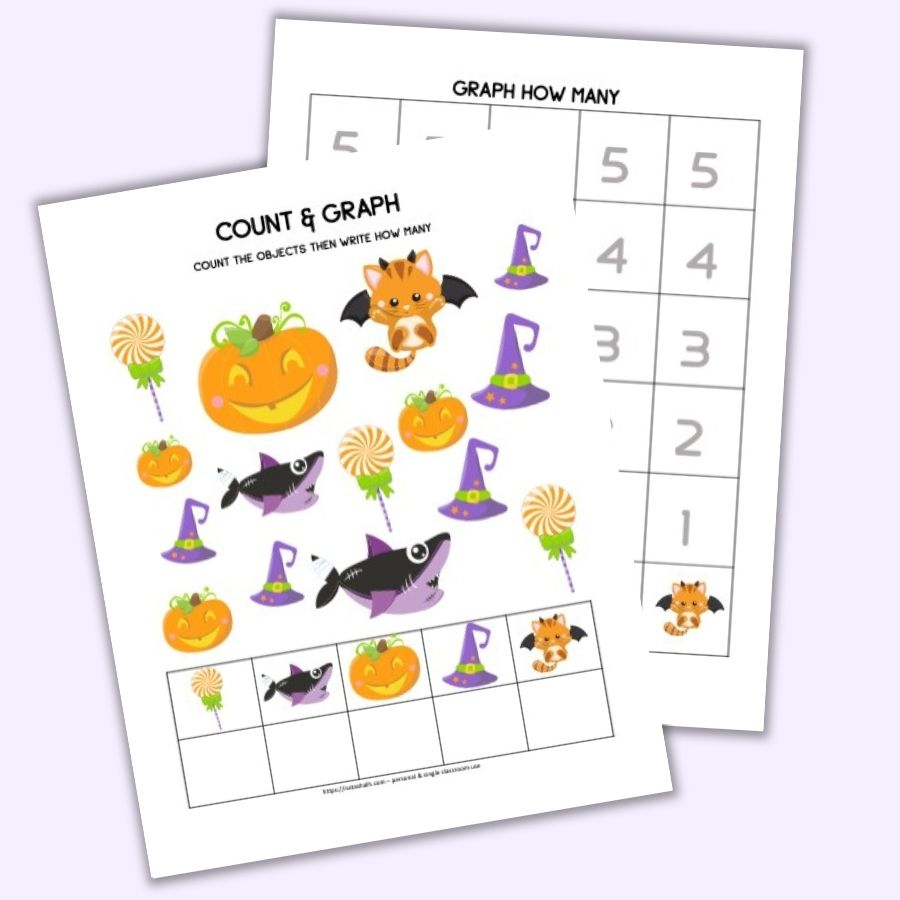 Preview of a printable Halloween count and graph printable worksheet with numbers 1-5 and cute Halloween cartoon images